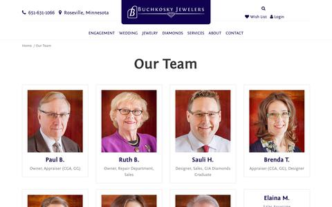 Screenshot of Team Page buchkosky.com - Buchkosky Jewelers:  Our Team - captured Oct. 11, 2017