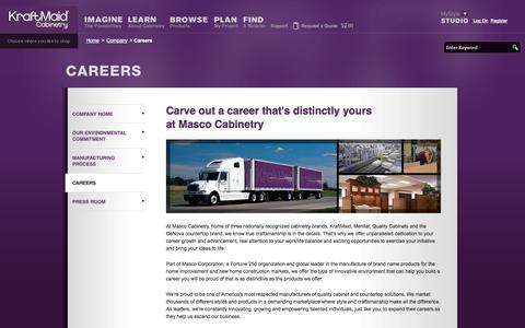 Screenshot of Jobs Page kraftmaid.com - Careers - KraftMaid Cabinetry - captured Oct. 27, 2014