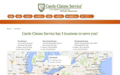 Screenshot of Locations Page castleclaims.com - Locations - captured Oct. 2, 2014