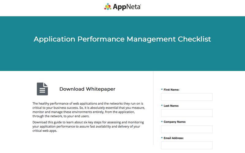APM Checklist | AppNeta Whitepaper