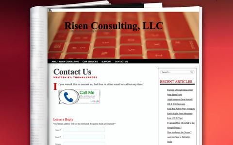 Screenshot of Contact Page risenconsulting.com - Contact Us «  Risen Consulting, LLC - captured Oct. 25, 2014