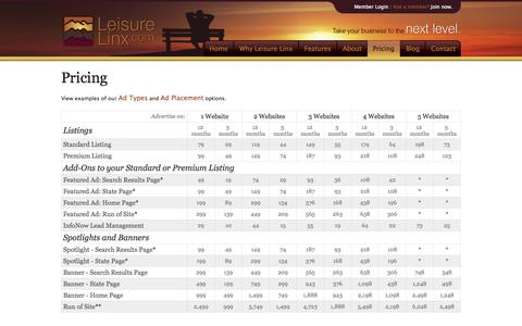 Screenshot of Pricing Page leisurelinx.com - Internet Advertising Solutions for Real Estate and Lodging - captured Sept. 29, 2014