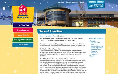 Screenshot of Terms Page hocm.org - Terms & Conditions > Hands On Children's Museum of Olympia - captured Oct. 1, 2014