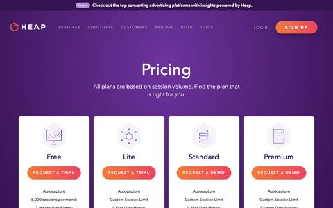 Pricing - Heap | Mobile and Web Analytics
