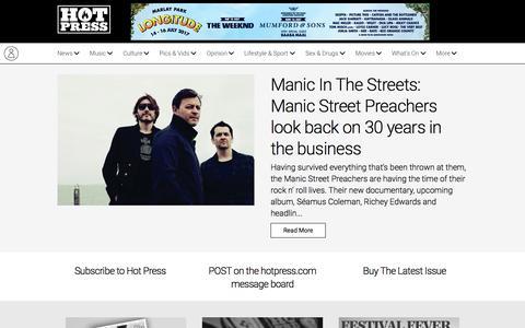 Screenshot of Home Page hotpress.com - hotpress.com: music news, reviews, interviews plus pop culture and politics, - captured May 10, 2017