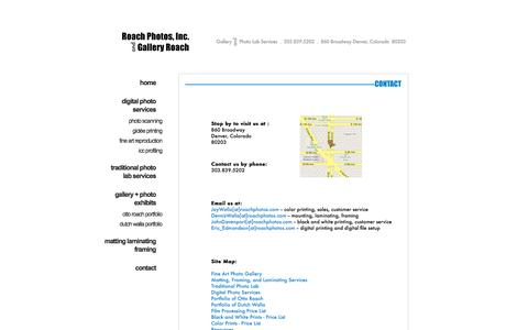 Screenshot of Contact Page Site Map Page roachphotos.com - Contact Roach Photos, Inc. and Gallery Roach, Denver, Colorado - captured Oct. 6, 2014