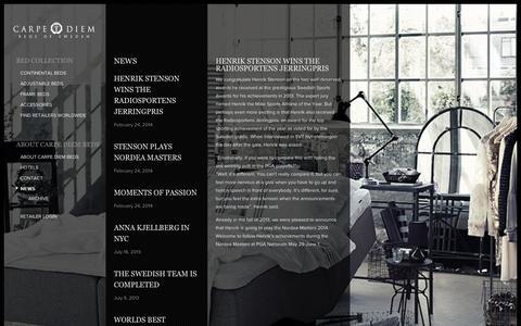 Screenshot of Press Page carpediembeds.com - News : Carpe Diem Beds of Sweden - captured Nov. 1, 2014