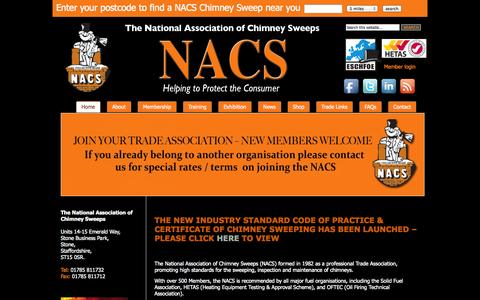 Screenshot of Home Page nacs.org.uk - NACS - captured Oct. 6, 2014