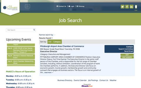 Screenshot of Jobs Page paacc.com - Job Search - Pittsburgh Airport Area Chamber of Commerce,PA - captured Aug. 1, 2017