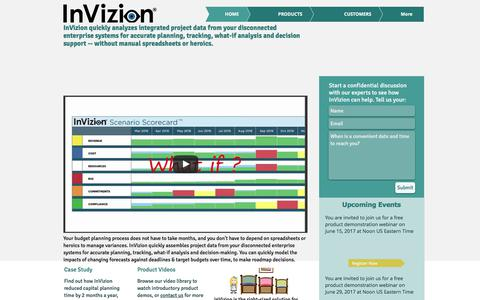 Screenshot of Home Page invizionllc.com - InVizion Software for Budgeting, Forecasting and What-If Analysis - captured June 7, 2017