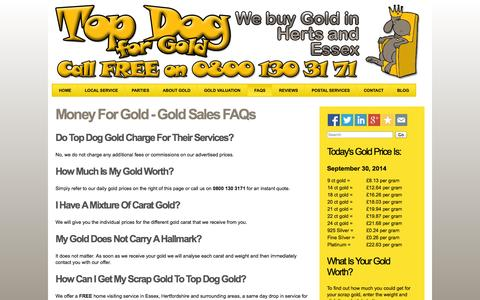 Screenshot of FAQ Page topdogscrapgold.co.uk - Money for gold | FAQs | Top Dog Scrap Gold - captured Sept. 30, 2014