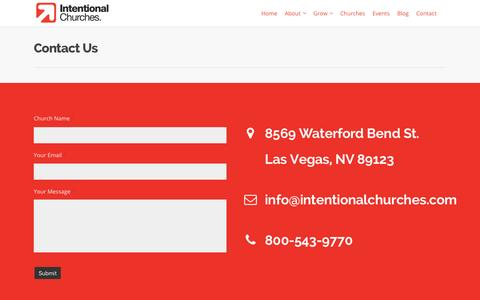 Screenshot of Contact Page intentionalchurches.com - Contact - Intentional Churches - captured Jan. 9, 2016