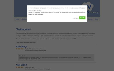 Screenshot of Testimonials Page thesuccessfulcv.com - Professional CV Writing Service - The Successful CV Company - captured Oct. 9, 2014