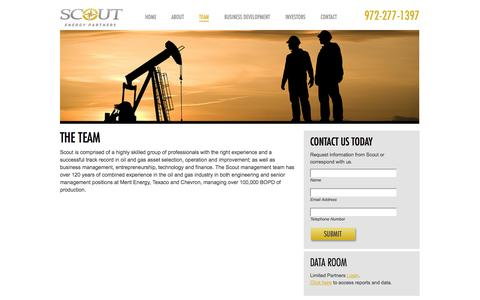 Screenshot of Team Page scoutep.com - The Team | Scout Energy Partners - captured Oct. 3, 2014