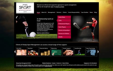 Screenshot of Home Page ssm.uk.com - Simply Sport Management | Homepage - captured Oct. 8, 2014