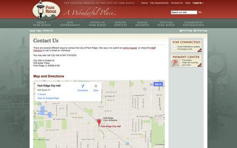 Screenshot of Contact Page parkridge.us - Contact Us, Contact Park Ridge | The City of Park Ridge, Illinois - captured Oct. 2, 2014