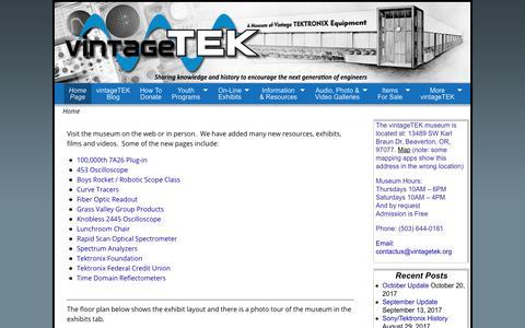 Screenshot of Home Page vintagetek.org captured Nov. 8, 2017