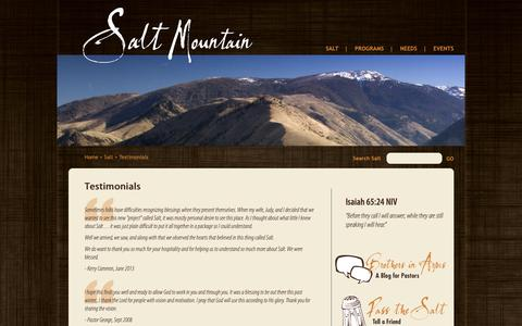 Screenshot of Testimonials Page saltmountain.org - Testimonials | Salt Mountain Pastoral Retreat - captured Oct. 1, 2018