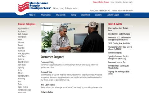 Screenshot of Support Page supplyhq.com - Customer Support - Maintenance Supply HQ - captured Nov. 19, 2016