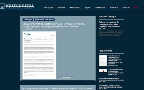 Screenshot of Blog westchester.eu - Westchester Financial Group  Consultoria Internacional - captured Nov. 8, 2017