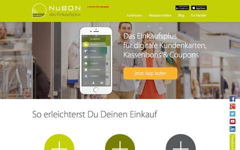 Screenshot of Home Page nubon.de - Das digitale Einkaufsplus   NuBON - captured Sept. 18, 2015