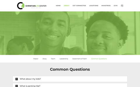 Screenshot of FAQ Page clc.tv - Common Questions – Christian Life Center - captured Sept. 25, 2018