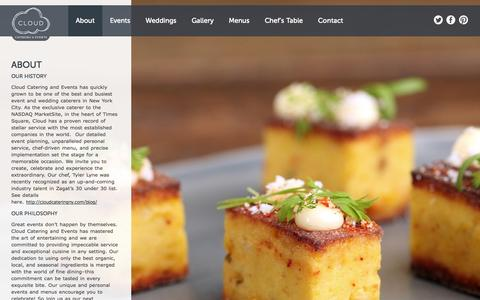 Screenshot of About Page cloudcateringny.com - About: Our Wedding & Event Catering - captured Oct. 2, 2014