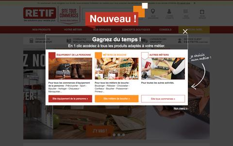 Screenshot of Home Page retif.eu - RETIF - Agencement Magasin & Equipement Commerce - captured Nov. 4, 2016
