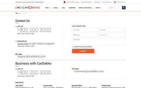 Screenshot of Contact Page cardekho.com - Contact Us | CarDekho.com - captured July 11, 2016