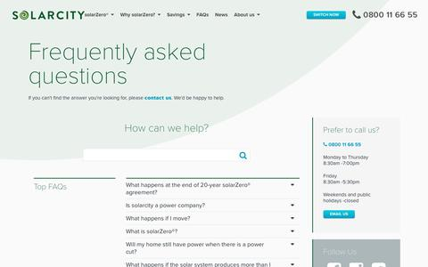 Screenshot of FAQ Page solarcity.co.nz - FAQs » solarcity - captured Oct. 20, 2018