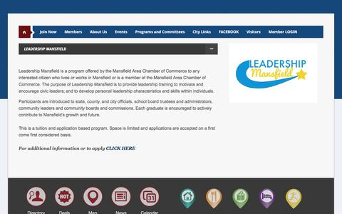 Screenshot of Team Page mansfieldchamber.org - Leadership - Mansfield Area Chamber of Commerce, TX - captured Feb. 3, 2016