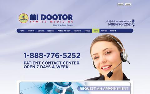 Screenshot of Press Page clinicasmidoctor.com - Clinicas Mi Doctor Resources - Medicine Family Clinic. Clínica De Medicina Familiar - captured Oct. 1, 2014