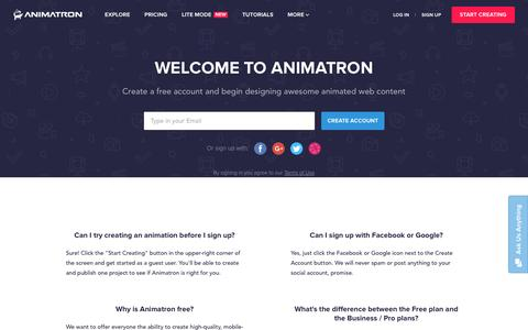 Screenshot of Signup Page animatron.com - Sign up | Animatron - captured March 3, 2017