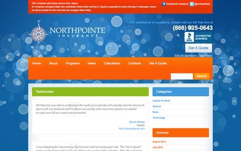 Screenshot of Testimonials Page npins.net - Testimonials - NorthpointeNorthpointe - captured Oct. 6, 2014