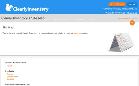 Screenshot of Site Map Page clearlyinventory.com - Site Map - Clearly Inventory - captured May 18, 2017