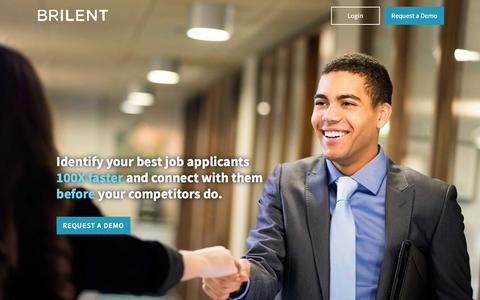 Screenshot of Home Page brilent.com - Brilent | Quickly identify top talent with Brilent's SaaS solution - captured Feb. 8, 2016