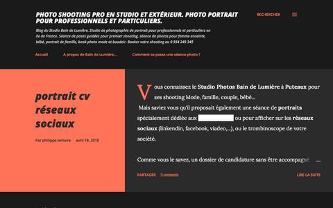 Screenshot of Home Page shooting-photo.fr - Photo shooting pro en studio et extérieur. Photo portrait pour professionnels et particuliers. - captured July 5, 2018
