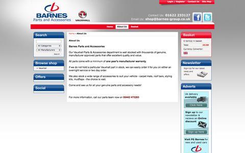 Screenshot of About Page barnesshop.co.uk - Vauxhall Parts Shop | Largest Selection | Barnes Group - captured Jan. 5, 2017