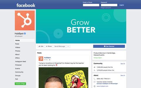 Screenshot of Facebook Page facebook.com - HubSpot - Home | Facebook - captured March 2, 2018