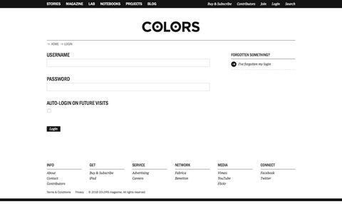Screenshot of Login Page colorsmagazine.com - Login | COLORS Magazine - captured July 3, 2016