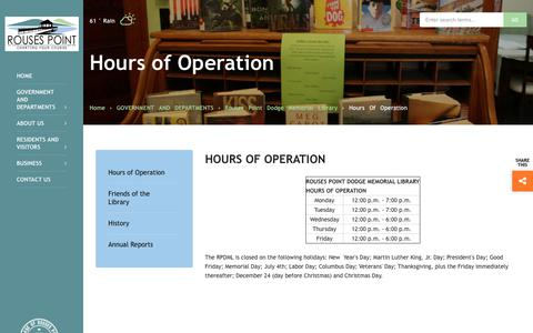 Screenshot of Hours Page rousespointny.com - Hours of Operation - captured Oct. 20, 2018