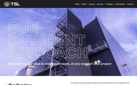 Screenshot of Services Page tslprojects.com - Services - TSL - captured Oct. 19, 2018