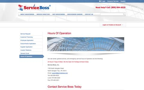 Screenshot of Hours Page serviceboss.com - Hours Of Operation - captured Oct. 8, 2014