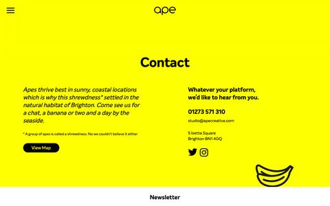 Screenshot of Contact Page apecreative.com - Contact | Ape | Come see us for a chat, a banana and a day by the sea - captured Oct. 3, 2018