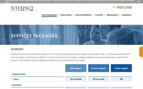 Screenshot of Pricing Page sitespect.com - Services Packages - captured Sept. 19, 2018