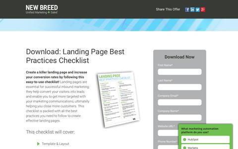 Landing Page Best Practices Checklist