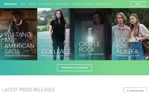 Screenshot of Press Page hulu.com - Hulu Press Site - captured Oct. 5, 2019