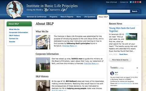 Screenshot of About Page iblp.org - About IBLP | Institute in Basic Life Principles - captured July 18, 2018