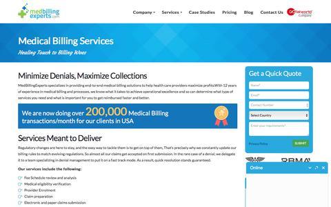 Screenshot of Services Page medbillingexperts.com - Medical Billing Outsourcing Services - MedbillingExperts - captured June 18, 2017