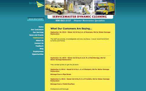 Screenshot of Testimonials Page smdynamic.com - Disaster Restoration Services - Customer Reviews - ServiceMaster Dynamic Cleaning - captured Oct. 7, 2014
